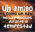 Un amigo es como un taxi no hay muchos durante la tempestad